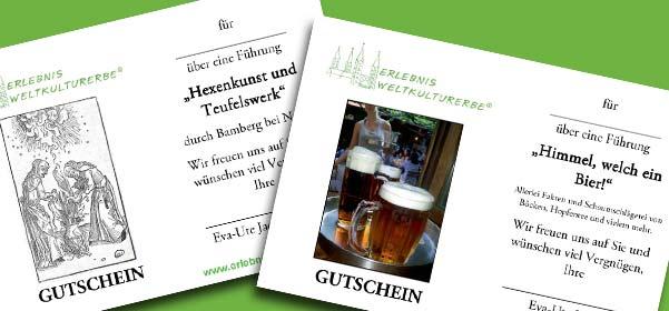 Gutscheine für eine Bierführung oder eine Hexenführung durch Bamberg