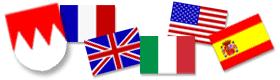 verschiedene Flaggen zeigen auf in welchen Sprachen Führungen stattfinden