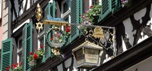 Bierführung in Bamberg - Ausleger der Rauchbier-Brauerei Schlenkerla